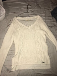 Hollister soft white knit sweater