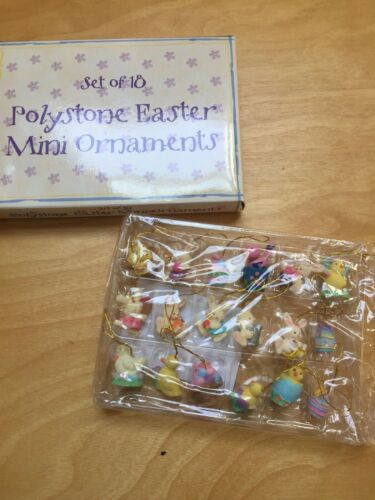 Set Of 18 Polystone Easter Mini Ornaments Tie On Giftco Inc Bunnies Chicks Eggs