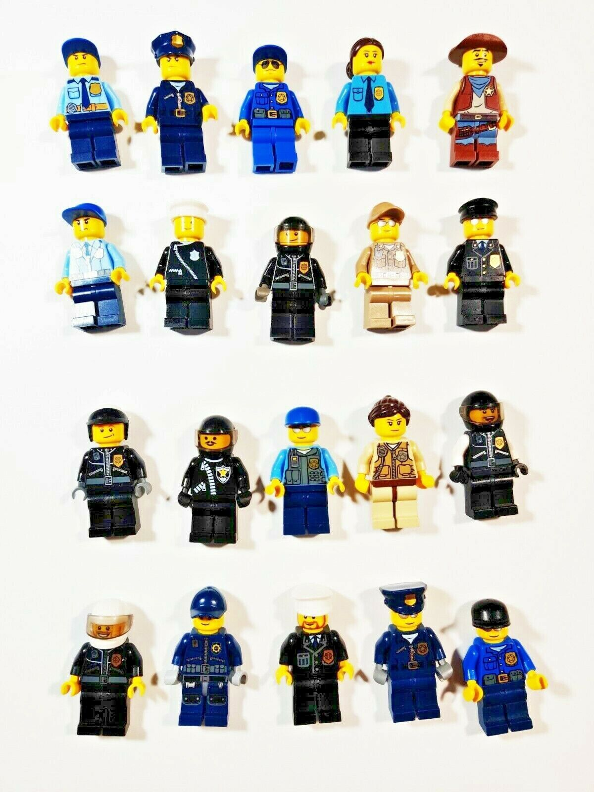 Lego Police Officer Minifigures Custom Lot of 4 With Accessories