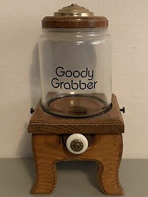Vintage Carousel Goody Grabber Mini Wood Gumball Candy Peanuts Machine Dispenser