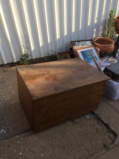Solid antique wooden toy box