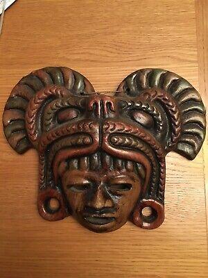 "Clay Tribal Vintage Mask Mayan/Aztec? 10.5"" X 9"""