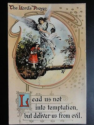 """Religious: The Lords Prayer """"LEAD US NOT INTO TEMPTATION"""" Old Postcard by Philco"""