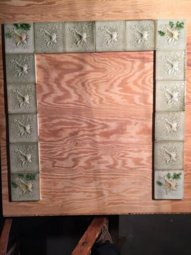 """Complete Hearth + Surround: 16 AETCO Antique Embossed 6"""" & 124 Fireplace Tiles"""