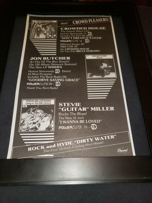 Crowded House/John Butcher/Steve Miller Rare Radio Promo Poster Ad Framed!