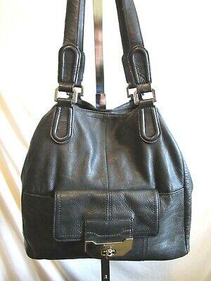 B. Makowsky Large Black Leather Shoulder Tote Handbag