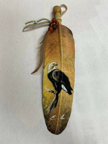 NEW HAND PAINTED FEATHER , ARTS & CRAFTS ,SOUTHWEST ART ,SIGNED ,EAGLE ON BRANCH