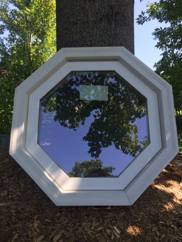"""New 26-3/4"""" octagon venting window with screen, solid pine and PVC, low E glass"""