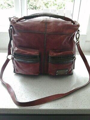 Ladies Red leather Hispanitas crossbody Handbag Red / brown