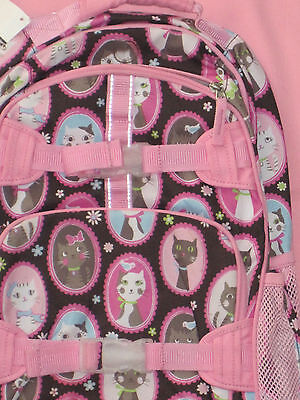 Pottery Barn Kids Large Backpack Glam Kitty Cat Chocolate Brown Pink Blue New