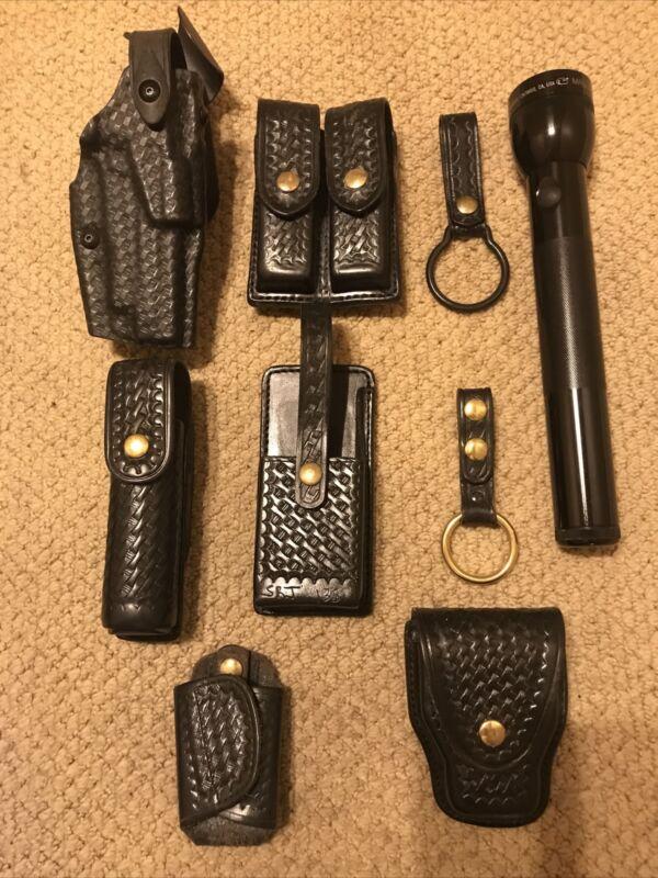 Black Leather Duty Belt Accessories Basketweave