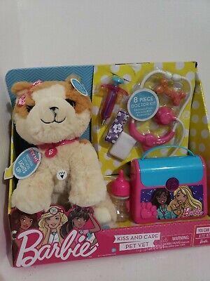 Barbie Kiss & Care Pet Vet 8 Piece Doctor Kit Set Interactive Puppy New!