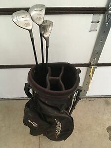 Golf bag and 3 rescue , fairway woods