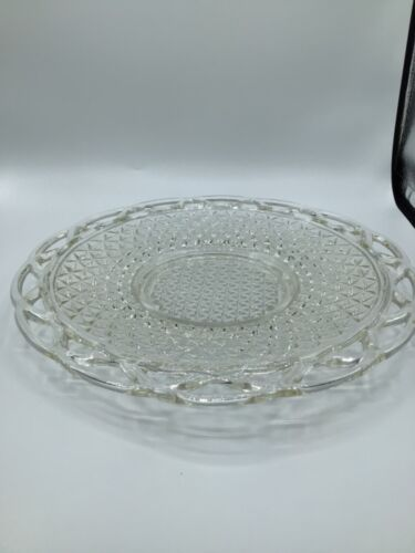 """Vintage 11"""" Imperial Glass Ohio Laced Edge Clear Round Plate"""