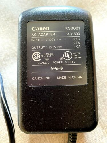 CANON K30081 POWER SUPPLY ADAPTER CHARGER AD-300 OUTPUT 13.5V 1A    28W