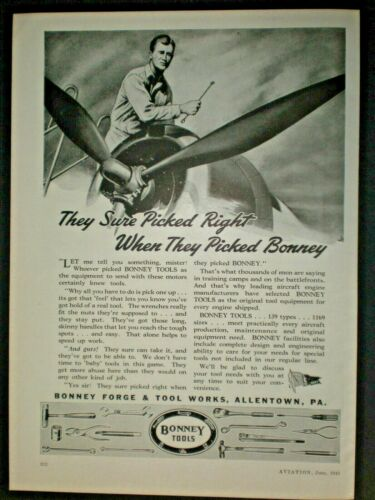 1943 MAN FIXING PLANE WITH BOX WRENCH BONNEY TOOLS vintage Trade print ad