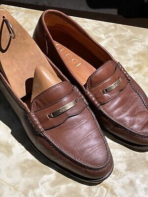 GUCCI Rare Logo 1063 LOAFERS LEATHER VINTAGE LIGHT BROWN 10 D