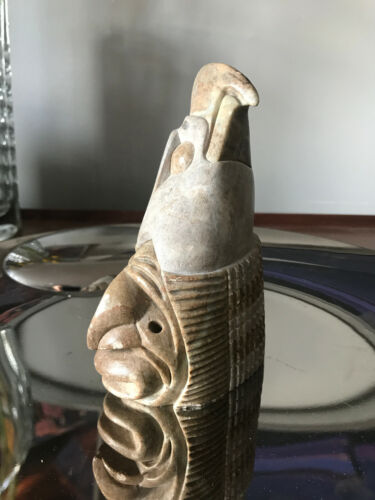 SUE SKY Signed Iroquois America Indian soapstone carving figure