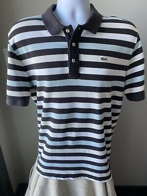 Lacoste Men's Shirt Polo White Black Blue Striped Size 7 2XL (XXL)