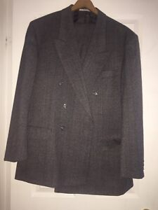 100% wool men's suit jacket and pants brand new grey