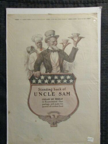 "1918 CREAM OF WHEAT 11x16"" Print Ad FN 6.0 Standing Back of Uncle Sam"