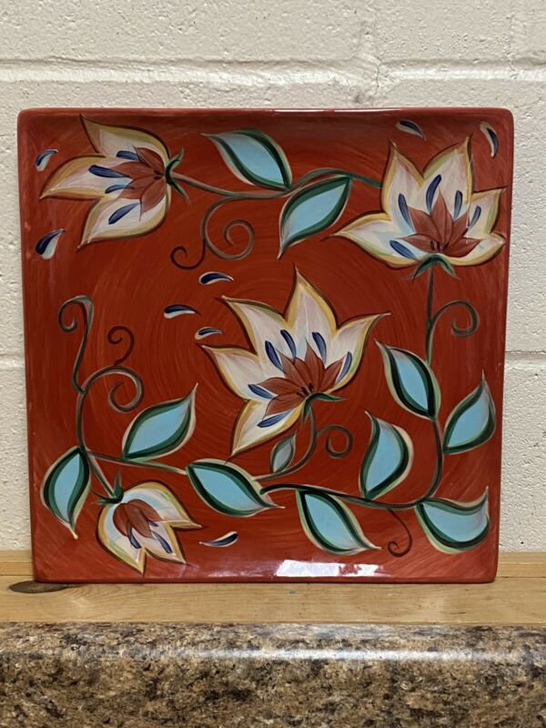"Southern Living at Home Red Bountiful Platter by Gail Pittman 13"" Square"