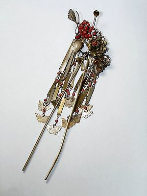 SALE! VERY RARE ANTIQUE JAPANESE  BIRA BIRA SILVER KANZASHI 簪 HAIRPIN