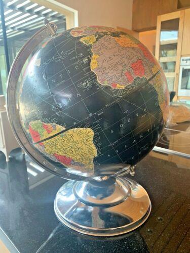 Vintage Black World Globe