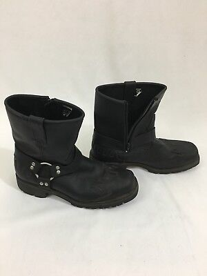 Men's 12 XElement Black Leather Motorcycle Riding Boots LU1555 Zipper Side