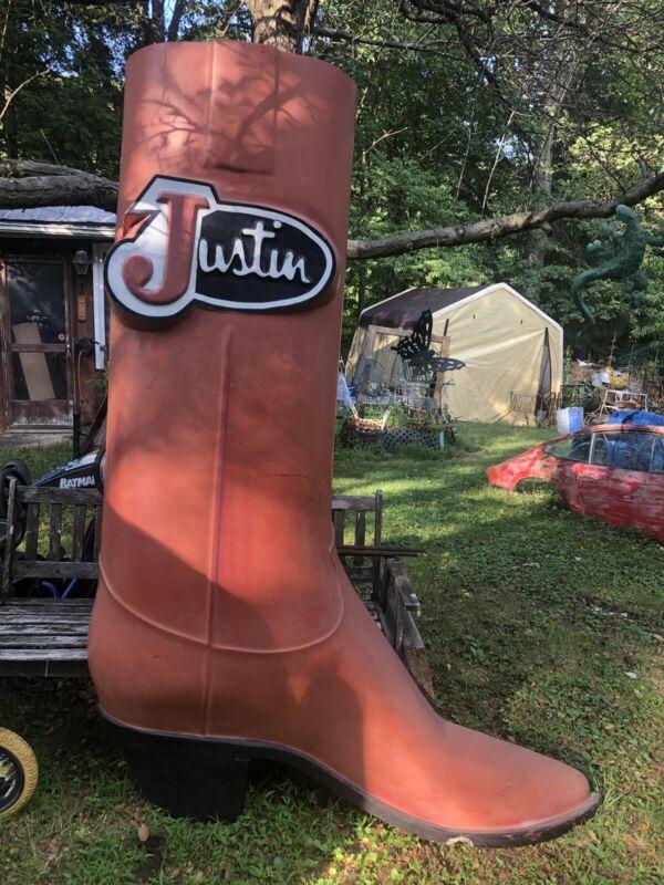 Vintage Justin Cowboy Boot Store Display Sign