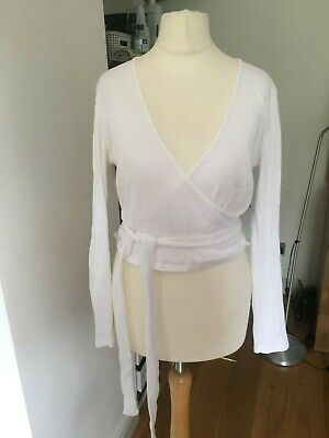 ZARA White Tie Long Sleeve Top L