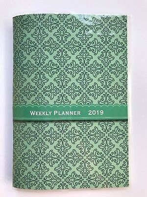 2019 Green Teal Weekly Day Planner Appointment Book Calender Organizer 5x8