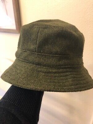 Vintage Abercrombie & Fitch A&F Wool Gray Reversible Bucket Hat Olive France LRG
