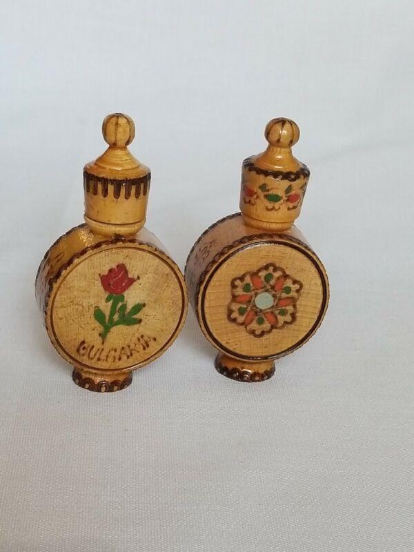 Bulgaria Rose Wood Casings for 2  Glass Perfume Bottles Miniature  Vintage
