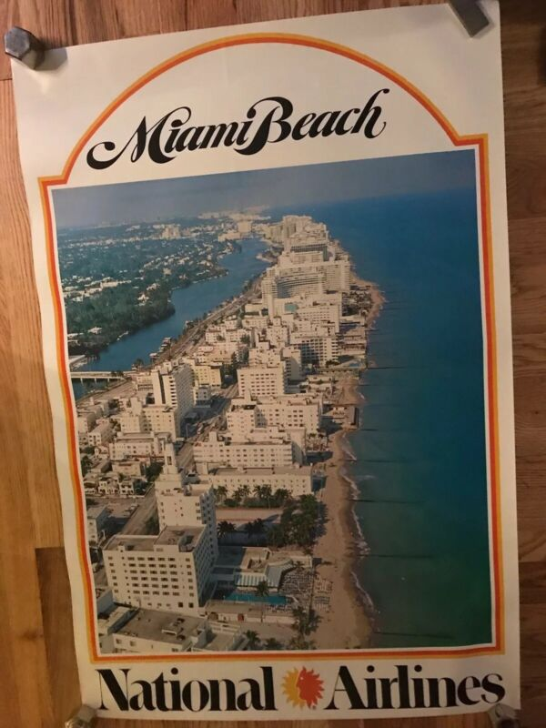 70's NATIONAL AIRLINES Miami Beach TRAVEL POSTER airport