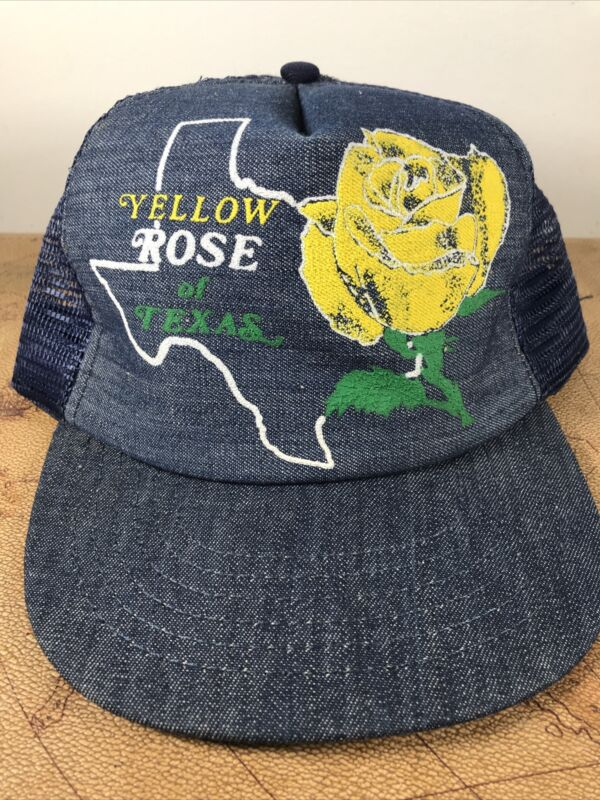 Vintage Trucker Style Snapback Hat Made in USA Yellow Rose of Texas