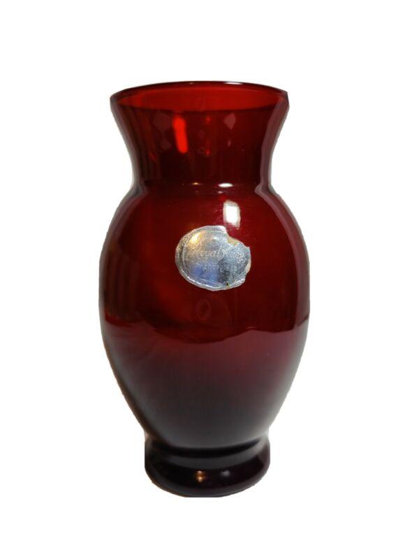"""VTG Anchor Hocking Royal Ruby 6 3/8"""" Red Glass Vase Original Label NICE"""