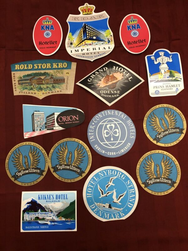 VINTAGE HOTEL TRAVEL LUGGAGE LABEL DECALS LOT NORWAY SWEDEN ETC