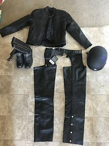 Motorcycle black leather outfit set