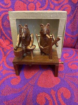 RARE HANDMADE WOODEN CARVED Bears Band Music Drumming WEDGEWOOD GEAR MECHANISM.