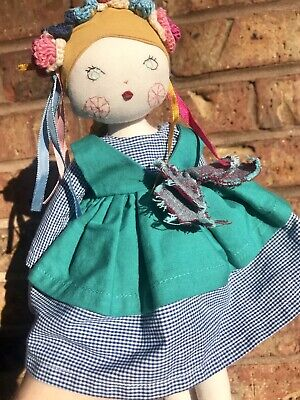 RARE Land Of Nod Fabric Cloth Doll Blonde Braid Ballerina Crochet HTF EUC
