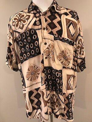 Jack Lipson Studio Men's Short Sleeve Button Front Shirt Size Large Fun Pattern! for sale  Muskegon
