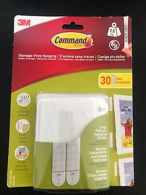 30 Pairs - 3M Command Large Picture Frame Hanging Adhesive Strips -...