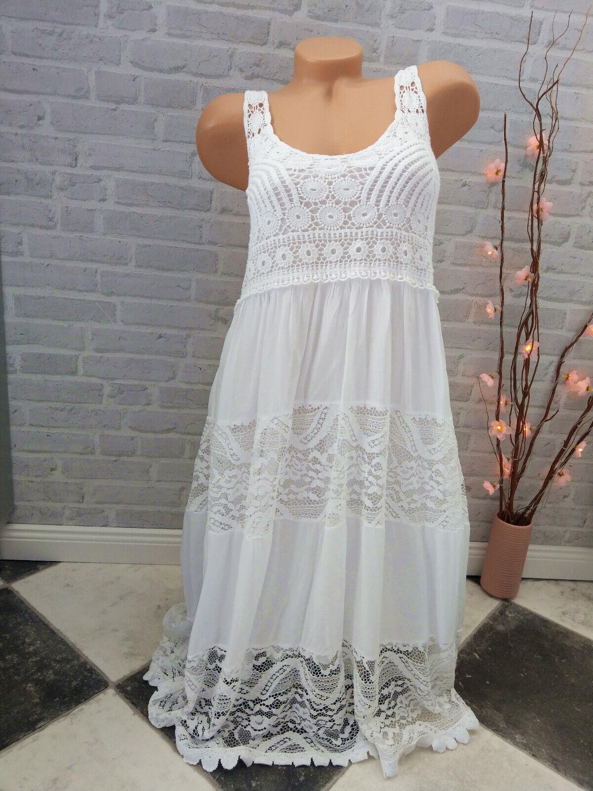 made in ITALY ❤ Kleid ❤ Häkel Spitze WEIß 38 40 42 M L Stretch white Ibiza Mode