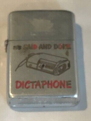 "Vintage 1952 and before Zippo with advertising ""IT'S SAID AND DONE DICTAPHONE"""