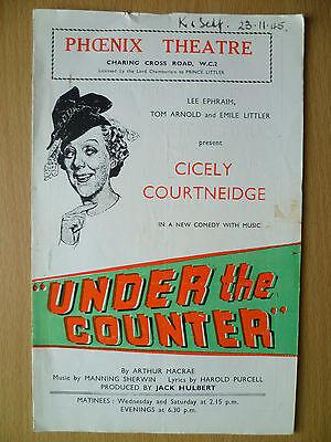 1945 PHOENIX Theatre Programme: UNDER THE COUNTER BY ARTHUR MACRAE