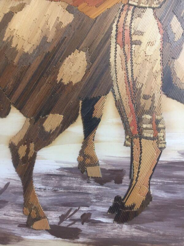 A. Mendoza signed STRAW MOSAIC Mexican Folk Art FRAMED Popotillo Matador Bull