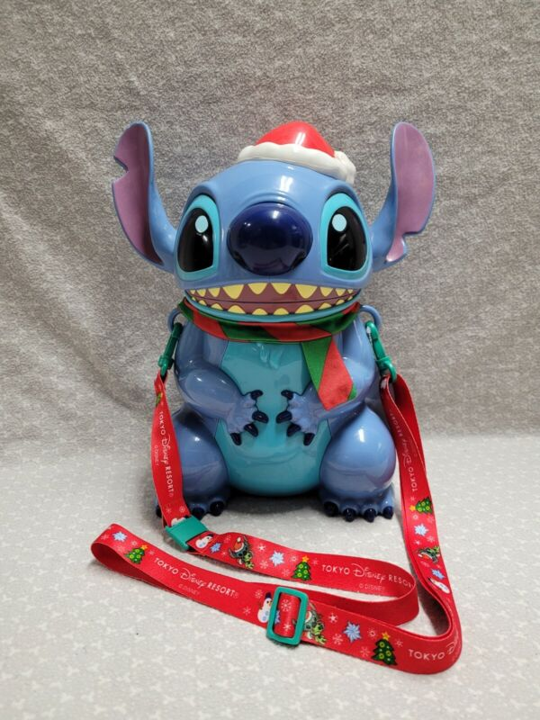 "Tokyo Disney Sea Japan Lilo & Stitch Holiday Christmas Santa Popcorn Bucket 11"""