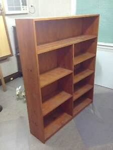 Stained Pine Timber Book / Storage Cabinet Merewether Newcastle Area Preview