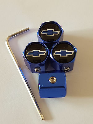 CHEVROLET BLUE ANTI THEFT DUST VALVE CAPS LIMITED ALL MODELS RETAIL PACKED GIFT